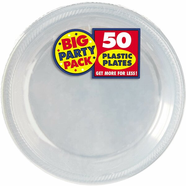 Big Party Pack Round Plastic Dinner Plate (Set of 100) by Amscan