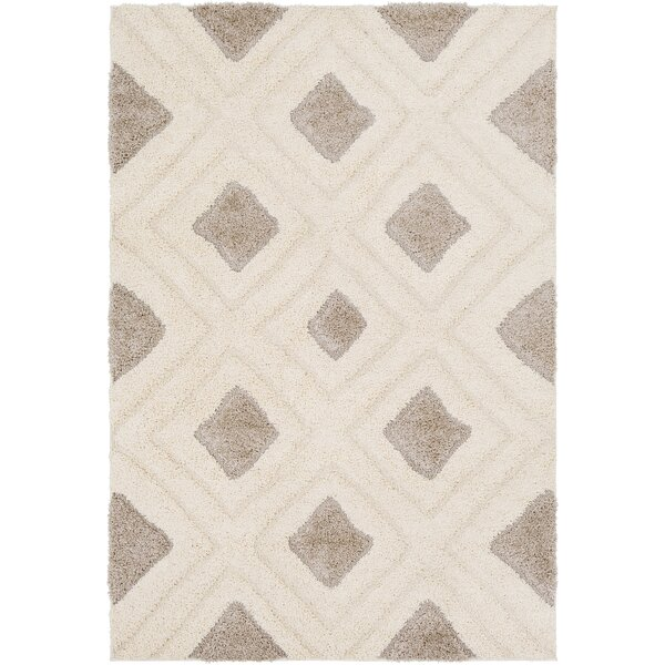 Marketfield Soft Geometric Shag Cream Area Rug by Wrought Studio