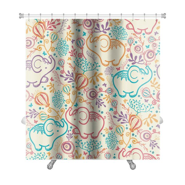 Animals Elephants with Flowers Premium Shower Curtain by Gear New