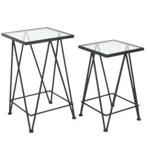 Lavonia 2 Piece Metal Glass Nesting Tables Set by Latitude Run