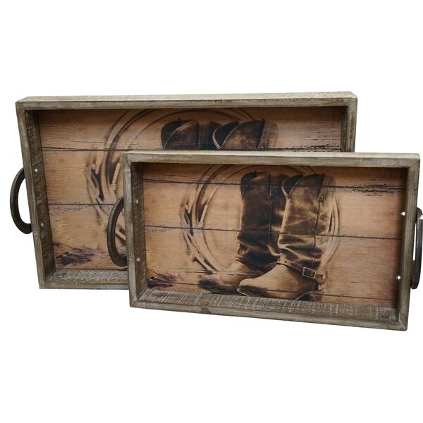 Prosperie Wood 2 Piece Accent Tray Set by Loon Peak