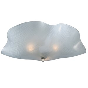Metro Mist Organic Art Glass 3-Light Flush Mount