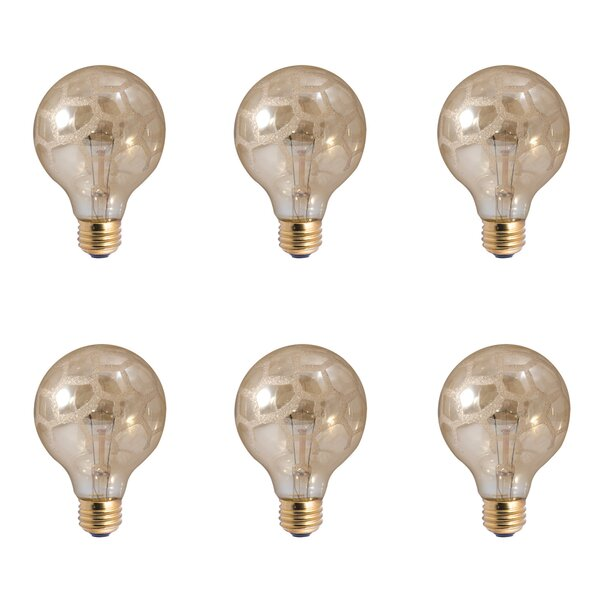40W E26 Dimmable Incandescent Globe Light Bulb Amber (Set of 6) by Bulbrite Industries