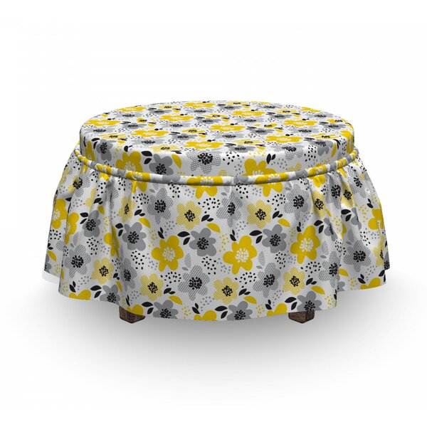 Abstract Flowers Ottoman Slipcover (Set Of 2) By East Urban Home