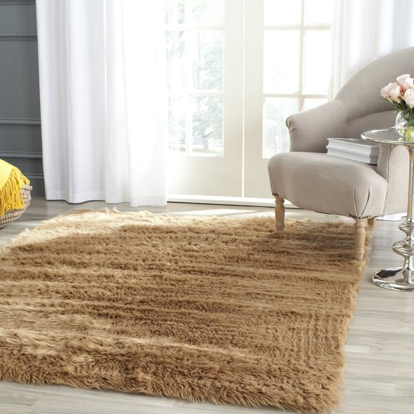 Isacc Hand-Tufted Faux Fur Brown/Tan Area Rug by Willa Arlo Interiors
