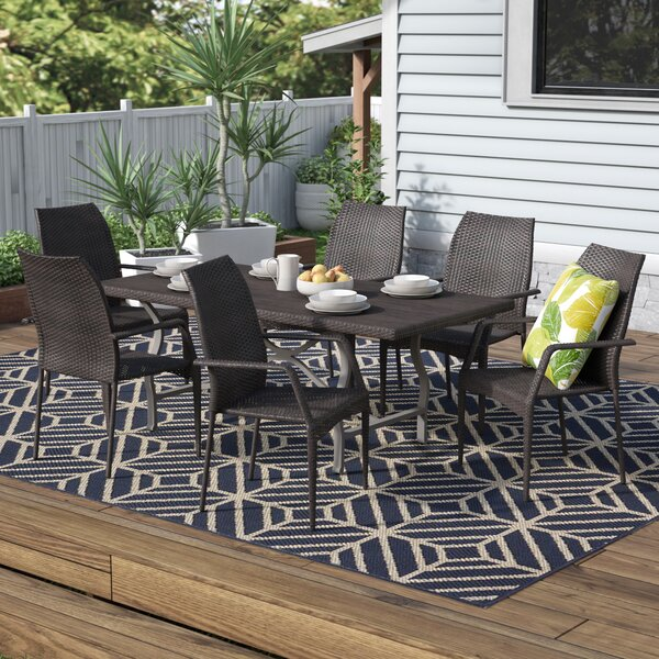 Durham Urena Wicker 7 Piece Dining Set by Ivy Bronx