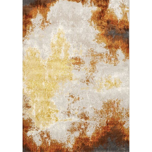 Billerica Distressed Abstract Orange/Gray Area Rug by Bungalow Rose