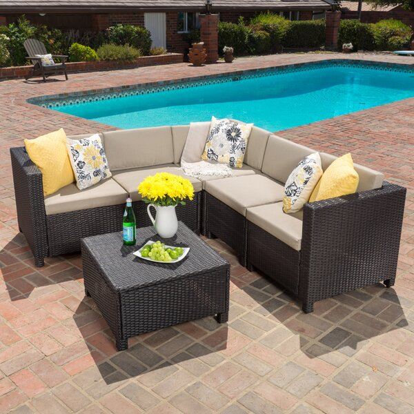 Furst 6 Piece Sectional Seating Group with Cushions by Wade Logan