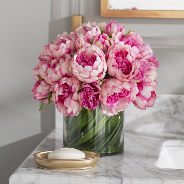 Faux Magenta & Pink Peony Floral Arrangement in Glass Vase by Willa Arlo Interiors