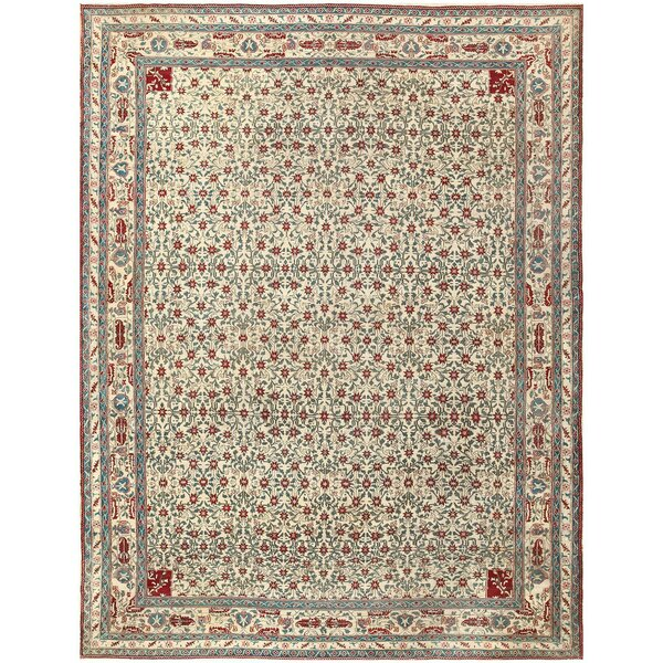 One-of-a-Kind Indian Hand-Knotted 1900s Agra Blue 8'10 x 11'6 Wool Area Rug