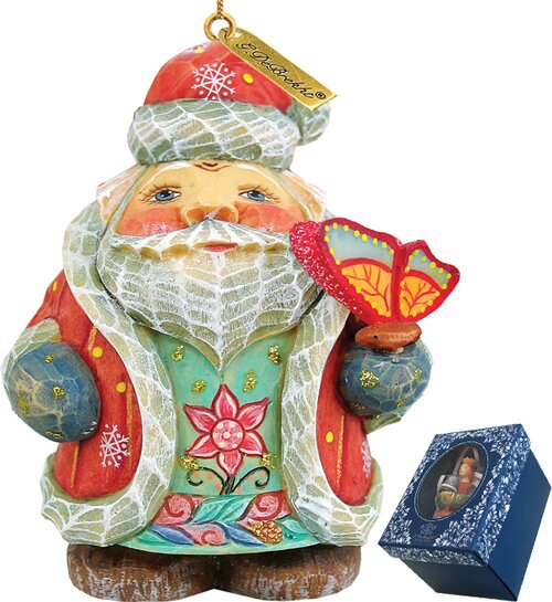 Fifield Spring Butterfly Santa Figurine Ornament by The Holiday Aisle