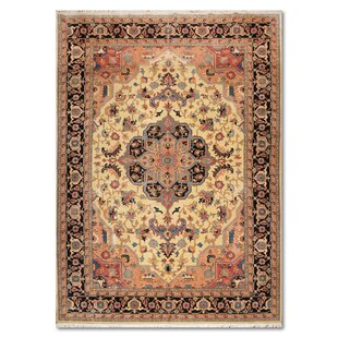 One-of-a-Kind Espinosa Traditional Persian Hand-Knotted 10' x 14'5 Wool Beige/Black/Pink Area Rug by Isabelline