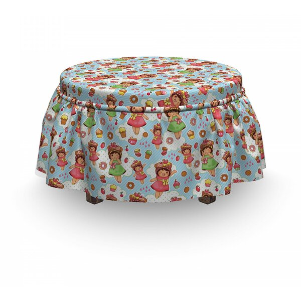 Girls With Yummy Pastries Ottoman Slipcover (Set Of 2) By East Urban Home