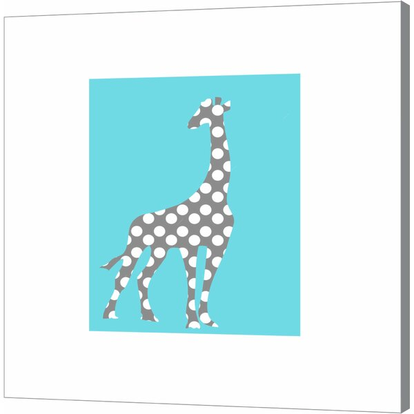 Gray Polka Dot Giraffe on Blue by Ashley Calhoun Canvas Art by Evive Designs