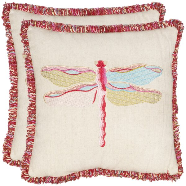 Taounate Dragonfly Throw Pillow (Set of 2) by Bungalow Rose
