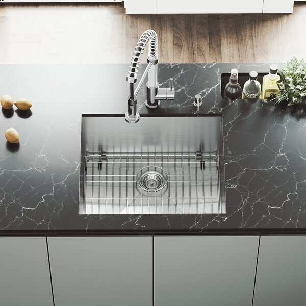 23 L x 20 W Undermount Kitchen Sink with Faucet, Grid, Strainer and Soap Dispenser by VIGO