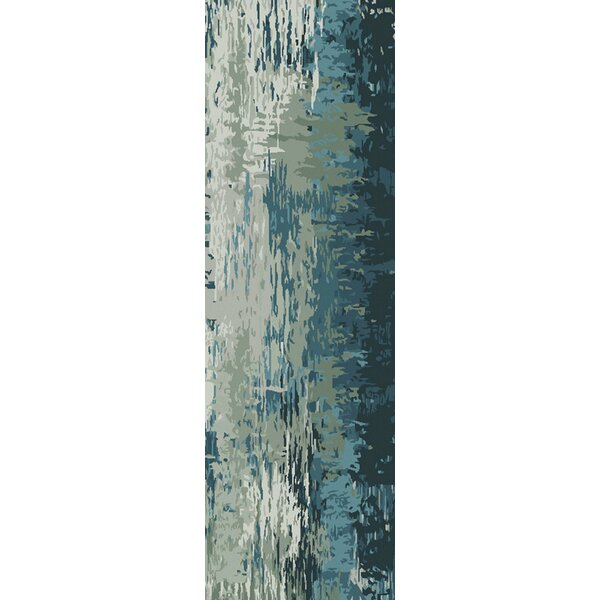 Demosthenes Hand-Tufted Teal/Beige Area Rug by Mercury Row