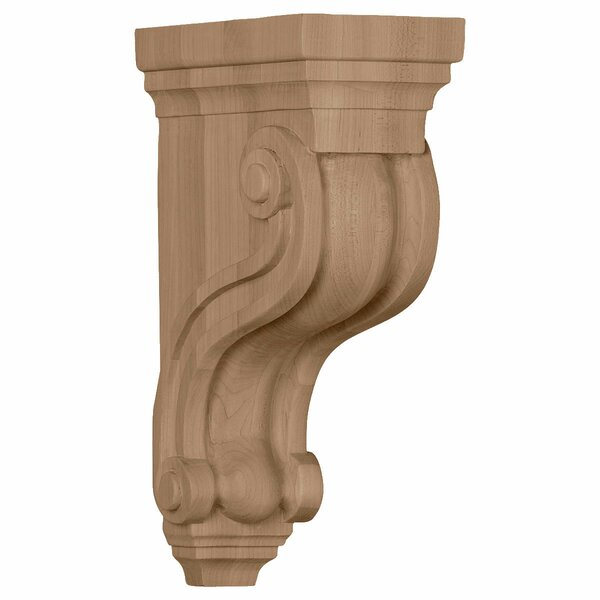 Traditional Boston 10 1/2H x 3 3/8W x 6 1/2D Scroll Corbel in Alder by Ekena Millwork