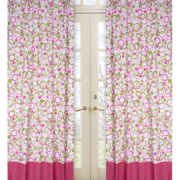 Circles Pink Geometric Semi-Sheer Rod pocket Curtain Panels (Set of 2) by Sweet Jojo Designs