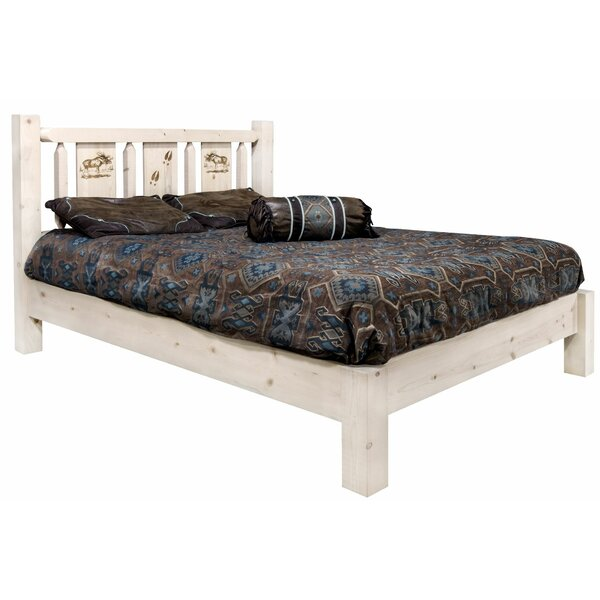 Tustin Laser Engraved Moose Design Platform Bed by Loon Peak