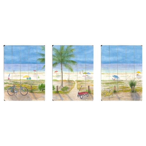 Ocean Boulevard 3 Piece Watercolor Painting Print Set on Wood by Artehouse LLC