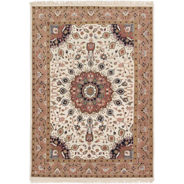 One-of-a-Kind Gregoire Hand-Knotted Cream/Brown Area Rug by Isabelline