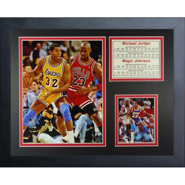 Michael Jordan and Magic Johnson Framed Memorabilia by Legends Never Die