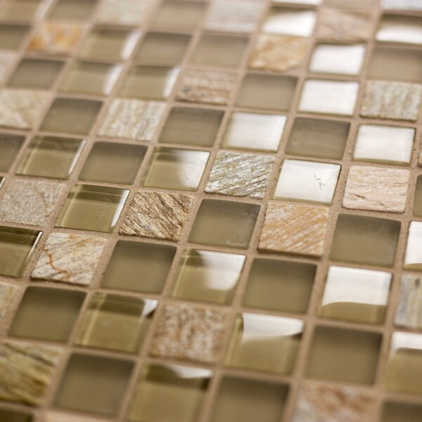 Crystal Stone 0.63 x 0.63 Glass Mosaic Tile in Glazed Amber Grain by Abolos