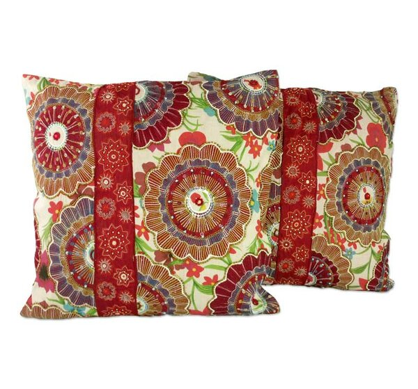 Floral Explosion Beaded Pillow Cover (Set of 2) by Novica