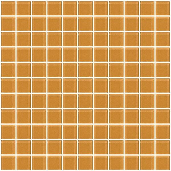 1 x 1 Glass Mosaic Tile in Glossy Caramel brown by Susan Jablon