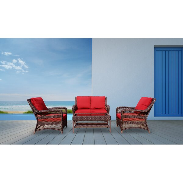 Oldenburg All Weather 4 Piece Sofa Seating Group with Cushions by Red Barrel Studio Red Barrel Studio