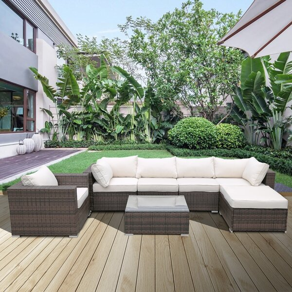 Sharma 7 Piece Rattan Sectional Seating Group with Cushions by Ivy Bronx