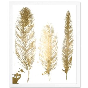 'Gold Feathers Gold Foil Metallic' Framed Graphic Art Print by Bungalow Rose