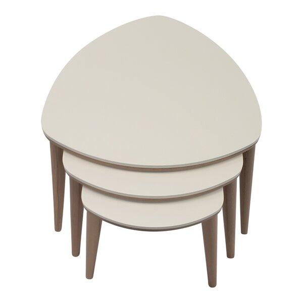 George Oliver 3 Pcs Nesting Table Walnut Cream in  White by George Oliver George Oliver