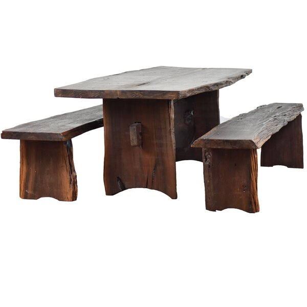 Kirkwood 3 Piece Solid Wood Dining Set by Loon Peak