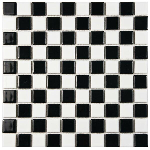 Derecha 1 x 1 Porcelain Mosaic Tile in Black/White by EliteTile