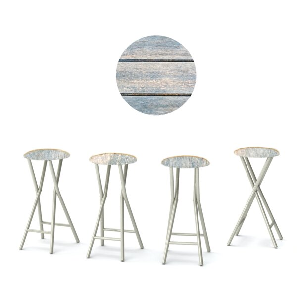 Tiffany 30'' Patio Bar Stool with Cushion (Set of 4) by Rosecliff Heights Rosecliff Heights