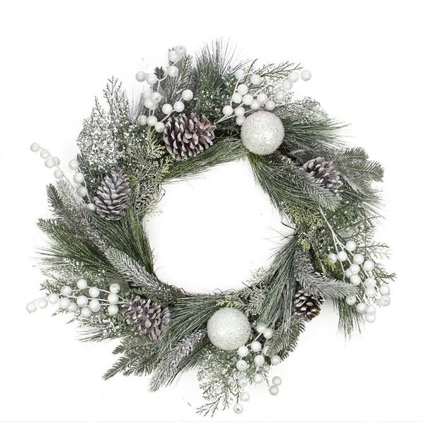 Artificial Mixed Pine and Pine Cone Wreath with Berries and Ball by Northlight Seasonal