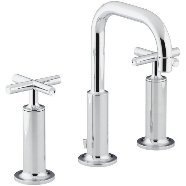 Purist Widespread Bathroom Sink Faucet with High Cross Handles and Low Gooseneck Spout by Kohler