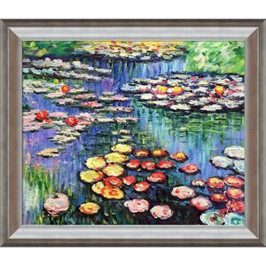 Water Lilies by Claude Monet Framed Painting by Tori Home