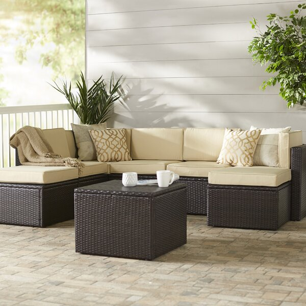 Belton 8 Piece Rattan Sectional Seating Group with Cushions by Mercury Row