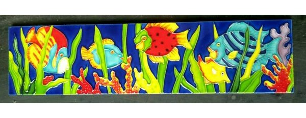 Horizontal Marine Fishes Tile Wall Decor by Continental Art Center