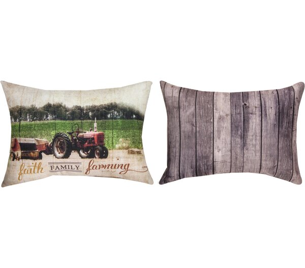 Faith Family Farming Lumbar Pillow by Manual Woodworkers & Weavers