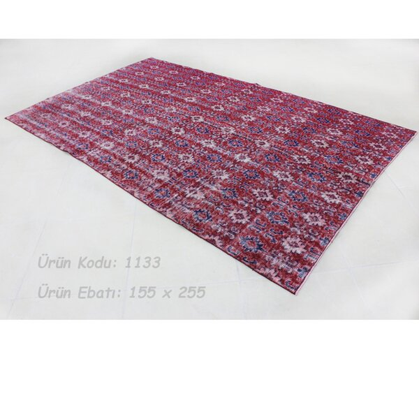 Vintage Hand-Knotted Red/Blue Area Rug by Wildon Home ®