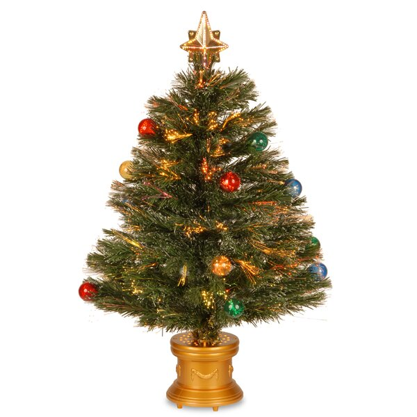 Optic Fireworks Green Fiber Artificial Christmas Tree by The Holiday Aisle
