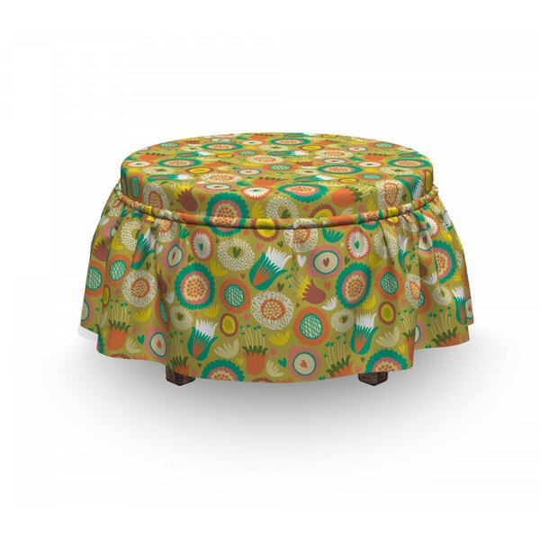 Botanical Flowers Ottoman Slipcover (Set Of 2) By East Urban Home