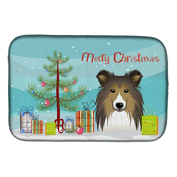 Christmas Tree and Sheltie Dish Drying Mat by Caroline's Treasures