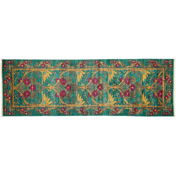 One-of-a-Kind Arts and Crafts Hand-Knotted Green Area Rug by Darya Rugs