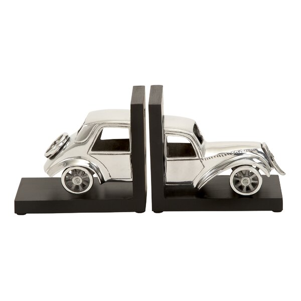 Aluminum and Wood Book Ends by Cole & Grey