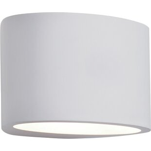 Battery indoor wall lights wayfair gypsum 1 light indoor wall light in white aloadofball Gallery